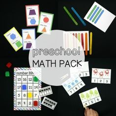 These 20 hands-on games teach shapes, patterns, number recognition and writing, counting to 20, graphing, measuring, beginning addition and subtraction. They're great to use as math stations, homeschool lessons or kindergarten prep.  Just print, prep and play.