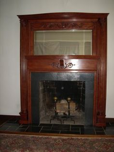 Antique Fireplace Mantel All Cherry Wood with Mirror Great Detail on Mantle | eBay