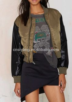 Wholesale Army green short baseball Jacket With leather sleeves | Buy Now Wholesale Army green short baseball Jacket With leather sleeves and get big discounts | List Manufacturers of  Wholesale Army green short baseball Jacket With leather sleeves | Get Discount on Wholesale Army green short baseball Jacket With leather sleeves  # #BestProduct