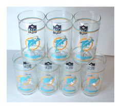 1970s Miami Dolphins Mobil Glasses Set of 7 by TimeEnoughAtLast