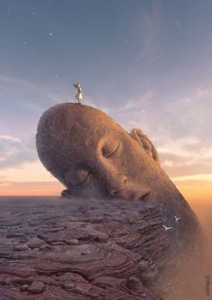 overlooking the canyon - large head mount sculpture - for meditation and celebration - good morning world! - #S0FT PIN MIX