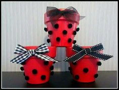 Items similar to Ladybug Party Containers Set of 3 for Favors, Centerpieces, Buffet Table, Dessert Table on Etsy Ladybug Centerpieces, Party Centerpieces, Party Favors, Ladybug 1st Birthdays, First Birthdays, Miraculous Ladybug Party, Tissue Paper Decorations, Ladybug Crafts, Class Decoration