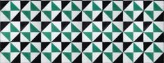 Fez (3000016) - Paper Moon Wallpapers - A small scale geometric pattern made up of various triangles of different colours. Shown here in teal, black and off white with a metallic sheen. Other colourways are available. Please request a sample for a true colour match. Paste-the-wall product. As this is a special order product, it may take 7-10 working days. Pattern repeat 6cm.