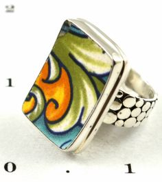 Vintage china and sterling silver ring by China Baroque