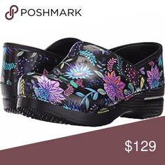 "New Dansko Women's Pro Wildflower Patent Clogs All shoes new in box!  SIZE: 36 (5.5-6), 37 (6.5-7), 38 (7.5-8), 39 (8.5-9), 40 (9.5-10), 41 (10.5-11) HEEL HEIGHT: 2"" MATERIAL: Patent Leather COLOR: Black with multi-color flowers  *100/07* Dansko Shoes Mules & Clogs"