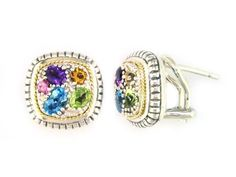Sterling Silver & 18K Yellow Button Earrings - Multi-Colored Stones - $299