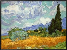 Wheatfield with Cypresses, c.1889 Framed Art Print by Vincent van Gogh at Art.com