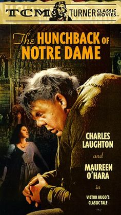 Hunchback of Notre Dame )1939) Overcome by lust, High Justice Frollo (Cedric Hardwicke) -- a religious fraud -- dispatches deformed bell-ringer Quasimodo (Charles Laughton) to kidnap winsome gypsy Esmeralda (Maureen O'Hara). But Quasimodo is thwarted and pays for his crime with a public flogging. Esmeralda offers him comfort, and her kindness kindles his passion. When she's later falsely convicted of murder and condemned to death, only Quasimodo can save her...4a
