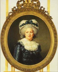 1791 E V-L:  Madame Victoire de France-Cap, Ribbon, Lace Kerchief, Gathered Gown