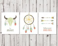 Printable nursery quote wall art tribal series | Dream catcher arrows feathers buffalo skull | Children home decoration wall art prints on Etsy, $12.50
