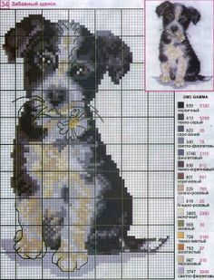 Puppy cross stitch chart (non-english) w/thread numbers for DMC