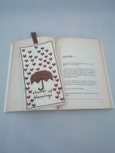 Handmade / Umbrella / Heart / Shower of Blessings / Cross Stitch Bookmark / Book Lovers / Bookmark / Bookworm / Gift by AtelierbyMsAries on Etsy