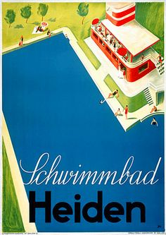 Art Deco Swimming Pool Vintage 1930s Travel Posters Prints