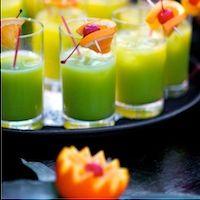 Club Med Bahamas - Green Flash Cocktail Recipe    1 oz vodka   1/2 oz Peach Schnapps   1/2 oz Blue Curacao   3 oz orange juice   3 oz sprite   ice   orange slice for garnish   maraschino cherry for garnish