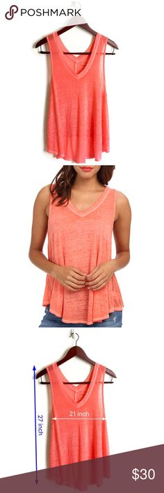 Free People Tank Top ▫️Free People We The Free Tank  ▫️Super soft burnout tank ▫️Fit: Loose, breezy silhouette (see measurements) ▫️Fabric: 50% Polyester 38% Cotton 12% Rayon ▫️Color neon pink ▫️Great Preowned Condition Free People Tops Tank Tops