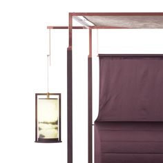 THEA bed with canopy and suspended lamps detail