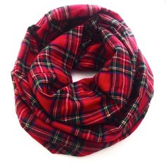 Red Plaid Infinity Scarf Flannel Cozy Scarf by dAnnonEtsy on Etsy, $40.00