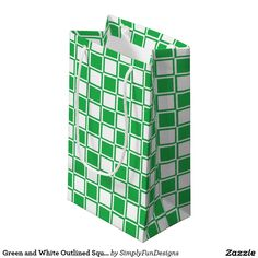 Green and White Outlined Squares Small Gift Bag