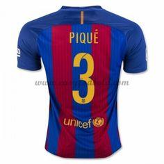 Fodboldtrøjer La Liga Barcelona 2016-17 Pique 3 Hjemmetrøje