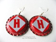 Upcycled Bottle Cap Earrings with Flattened Edges, Harpoon, Red by TheRisingSpoonCrafts on Etsy, $10.00