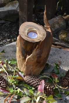 #Looking for a #Natural #Log #Candle #Holder - #Bathroom, #Fireplace, #Patio One of a Kind Candle Holder a beautiful piece of wood.. would make a perfect gift for Christmas, something a little different. http://www.heavenscentlogs.com