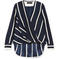 rag & bone Victor wrap-effect striped silk crepe de chine blouse