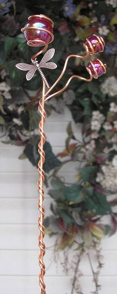 Hand sculpted solid copper and glass dragonfly garden stake. Metal Garden Art, Glass Garden, Metal Art, Nail Swag, Dragonfly Garden Decor, Metal Sculpture Wall Art, Outdoor Ponds, Outdoor Spaces, Glass Wind Chimes