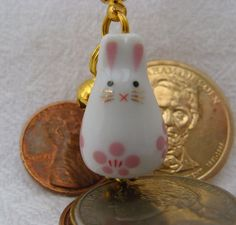 Rabbit Maneki Neko Porcelain Phone/Handbag Charm Pink Blossoms with Pink Braided Lanyard/Strap and Bell. on Etsy, $9.50