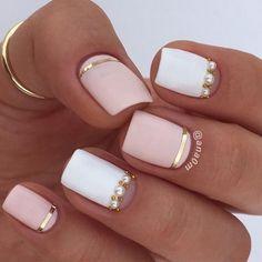 Pretty white and pink nail art #nailart