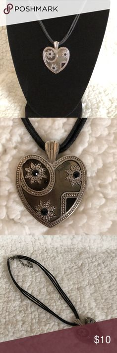 🆕 SILVER HEART NECKLACE WITH BLACK CORD ROPE Silver and Black Heart Necklace➖16 Inches long with 2 in extender➖some wear on the clasp Jewelry Necklaces