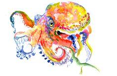 Octopus Print, Octopus art, Rainbow Octopus, Octopus wall art