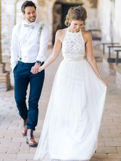 Gorgeous A-line White Long Chiffon Prom Dress with Ribbon