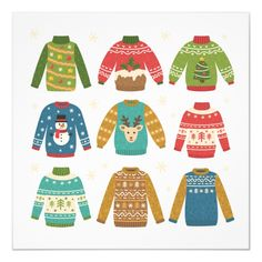 Cute set of ugly Christmas sweaters. Funny traditional knitted clothes with different prints deer, cake, snowman, Christmas tree - Buy this stock vector and explore similar vectors at Adobe Stock Christmas Jumpers, Cozy Christmas, Christmas Sweaters, Christmas Crafts, Christmas Ornaments, Christmas Presents, Ugly Holiday Sweater, Ugly Sweater, Ugly Christmas Sweater Images