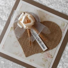 Rustic Wedding Invitations with Burlap Hessian Heart by barbie57, £3.00