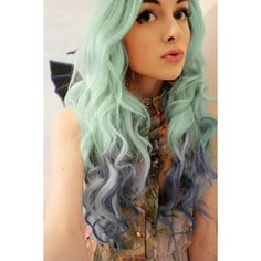Best Green Blue Ombre Hair Dye   SEAFOAM MERMAID ombre hair chalk set... ❤ liked on Polyvore featuring beauty products, haircare, hair color, hair, people, hairstyles, hair styles and girls