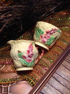 Cream And Sugar Cream Jug And Sugar Pot Foxglove by missenpieces, $21.25