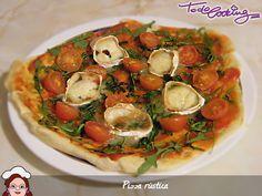 Una pizza rústica con tomate cherry, queso de cabra y un toque de miel. Seguro que te encanta nuestra receta :-) Pizza Rustica, Vegetable Pizza, Vegetables, Food, Kitchen Gadgets, Breads, Goat Cheese, Pizza, Honey
