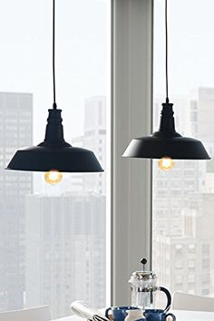 MY-Furniture - PASCAL - Lampada/Lampadario da soffitto vintage industriale Nera