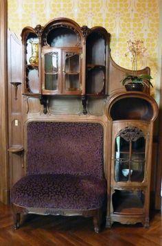 Art Nouveau - Villa Demoiselle - Reims - Intérieurs - Meuble 'Vitrines' avec Baquette intégrée - Tony Selmersheim