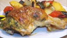 Töltött csirke a legegyszerűbb töltelékkel és tepsis burgonyával