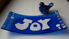 JOY Fused Glass Art Dish in Blue and White by LanieMarieDesigns