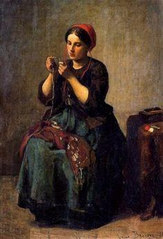 Peasant woman threading a needle (Jules Breton)