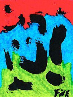 By me Dessin au feutre sur papier 9*9 signé Five Outsider Art Tableau