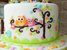 Owl Family Baby Shower Cake — Baby Shower