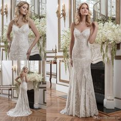 2016 Justin Alexander Mermaid Sheer Spaghetti Ivory Lace Mermaid Wedding Dresses Sleeveless Backless Applique Sexy Bridal Gowns Brush Train Online with $145.14/Piece on Sweet-life's Store | DHgate.com
