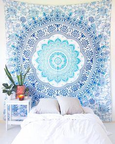 Blue & Green Watercolor Mandala Tapestry – The Bohemian Shop Blue Tapestry, Tapestry Bedroom, Bohemian Tapestry, Mandala Tapestry, Tapestry Wall Hanging, Bohemian Fabric, Wall Hangings, Mandala On Wall, Mandala Artwork