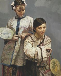 Chen Yifei - Old Dream on the Sea: Two Beauties