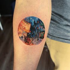 Night Cafe. Van Gogh #tattoo #ink #nightcafe #vangogh #classicart #ksuarrow #circletattoo #landscapetattoo