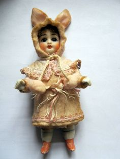 Antique Mignonette with Rabbit Dress Handmade Fairy Tale Candycontainer | eBay