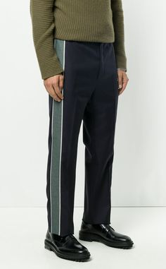 LANVIN contrast side stripe trousers from Farfetch (ad, men, style, fashion, clothing, shopping, recommendations, stylish, menswear, male, streetstyle, inspo, outfit, fall, winter, spring, summer, personal)